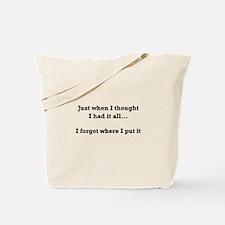 Forgot Where Put Tote Bag