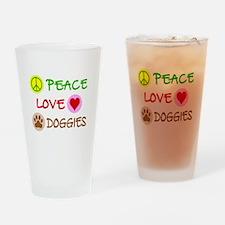 Peace-Love-Doggies Drinking Glass