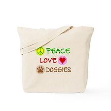 Peace-Love-Doggies Tote Bag