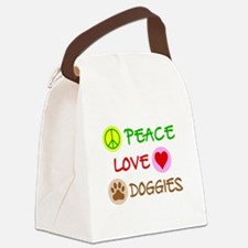 Peace-Love-Doggies Canvas Lunch Bag