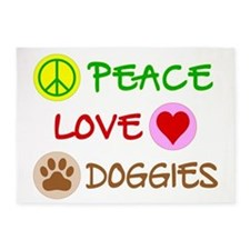Peace-Love-Doggies 5'x7'Area Rug