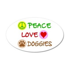 Peace-Love-Doggies 20x12 Oval Wall Decal