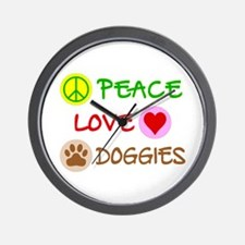 Peace-Love-Doggies Wall Clock