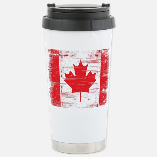 Vintage Canadian Flag  Stainless Steel Travel Mug