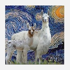 Starry Night - Llama Mama-Baby Tile Coaster