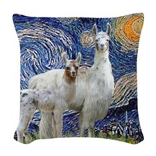 Starry Night - Llama Mama-Baby Woven Throw Pillow