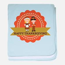 Pilgrims Happy Thanksgiving baby blanket