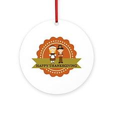 Pilgrims Happy Thanksgiving Ornament (Round)