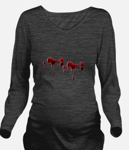 Blood Spatter Long Sleeve Maternity T-Shirt
