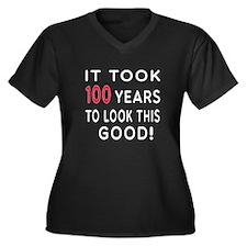 It Took 100 Birthday Designs Women's Plus Size V-N