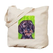 Cute Wire haired dachshund Tote Bag