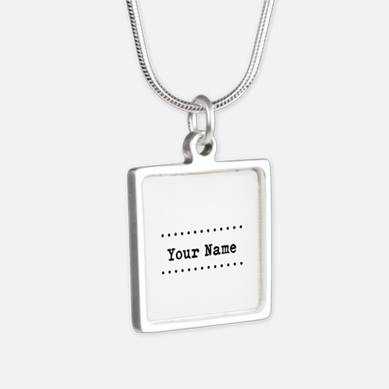 Custom Name Silver Square Necklace