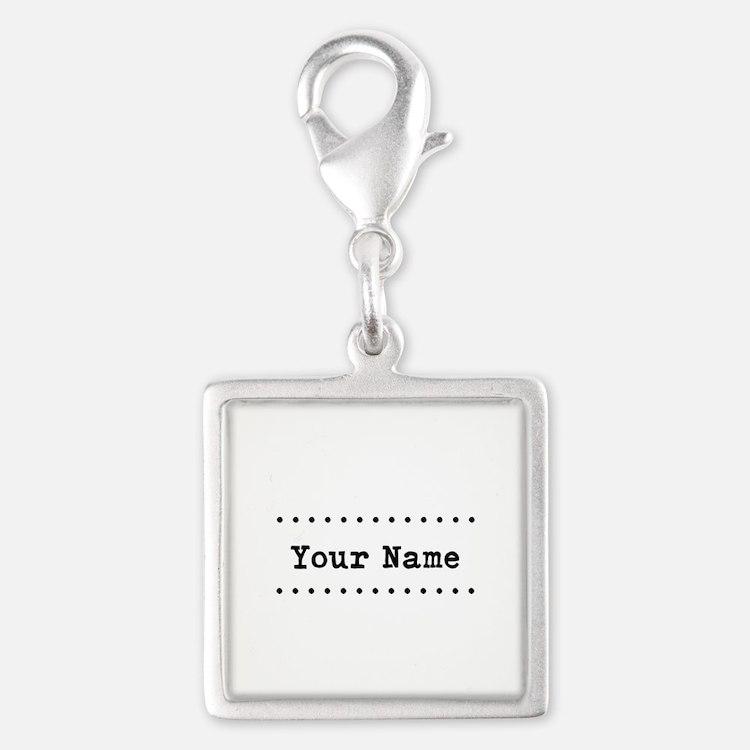 Custom Name Silver Square Charm