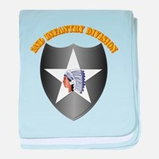 SSI - 2nd Infantry Division with Text baby blanket