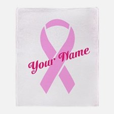 Custom Pink Ribbon Throw Blanket