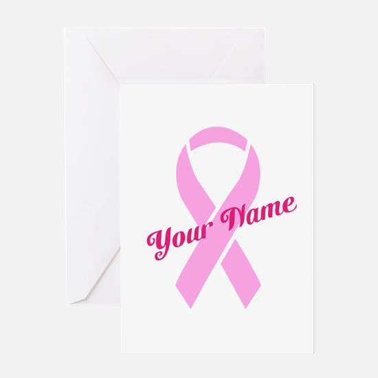 Custom Pink Ribbon Greeting Card