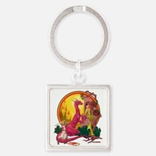 St.George and the Dragon Square Keychain