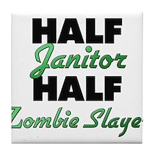 Half Janitor Half Zombie Slayer Tile Coaster