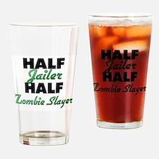 Half Jailer Half Zombie Slayer Drinking Glass