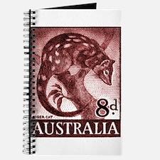 Vintage 1959 Australia Tiger Cat Postage Stamp Jou