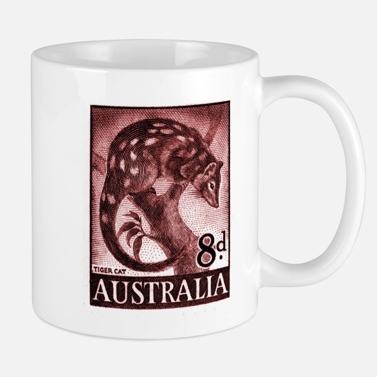 Vintage 1959 Australia Tiger Cat Postage Stamp Small Mugs