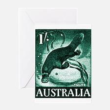 Vintage 1959 Australia Platypus Postage Stamp Gree