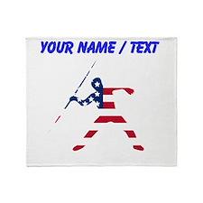 Custom American Flag Javelin Throw Throw Blanket