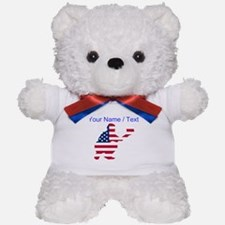 Custom American Flag Baseball Catcher Teddy Bear