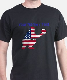 Custom American Flag Baseball Catcher T-Shirt