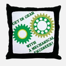 Green Get In Gear Throw Pillow