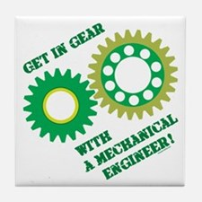 Green Get In Gear Tile Coaster