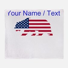 Custom American Flag California Bear Throw Blanket