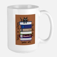 home is where cat and books are brown Mugs