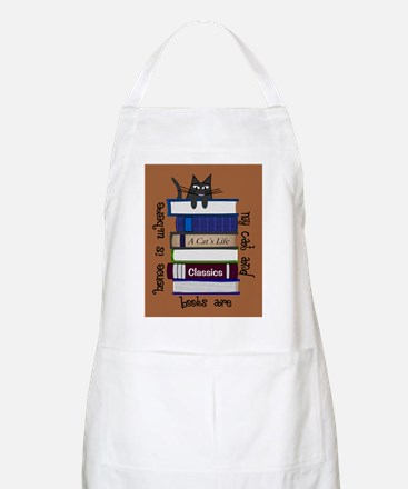 home is where cat and books are brown Apron