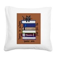 home is where cat and books are brown Square Canva