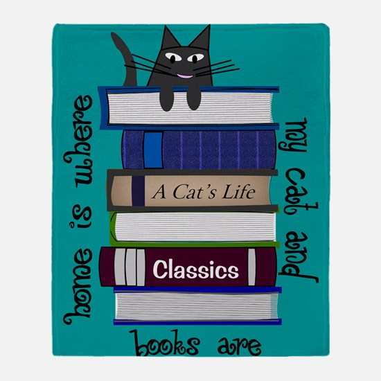 Home is where cat and books are blanket Throw Blan