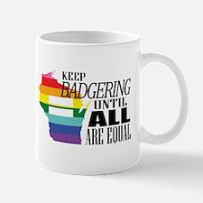 Wisconsin equality badger blk font Mugs