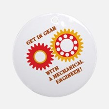 Red Get In Gear Ornament (Round)