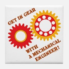 Red Get In Gear Tile Coaster