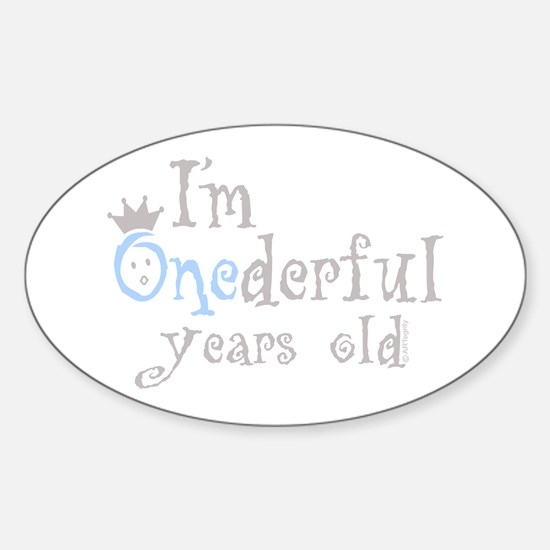 Onederful years old (boy) Oval Decal