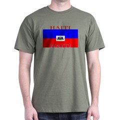 Haiti Haitian Flag Military Green T-Shirt