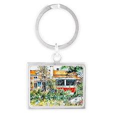 The Cottage, Carl Larsson paint Landscape Keychain