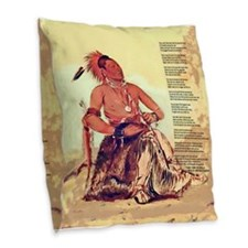 Mile in His Moccasins Burlap Throw Pillow