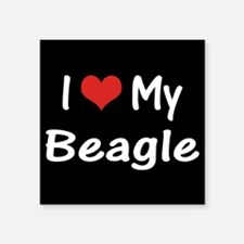 "I Heart My Beagle Square Sticker 3"" x 3"""