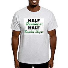 Half Developer Half Zombie Slayer T-Shirt