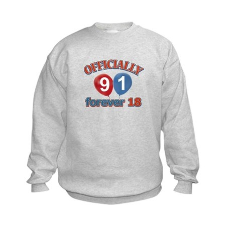Officially 91 forever 18 Kids Sweatshirt