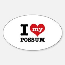 I love my possum Sticker (Oval)