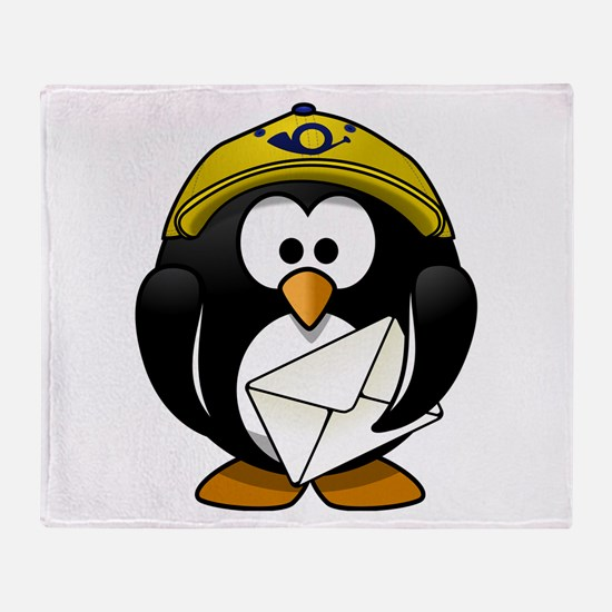 Mail Man Penguin Throw Blanket
