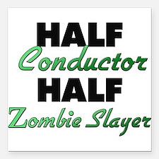 Half Conductor Half Zombie Slayer Square Car Magne