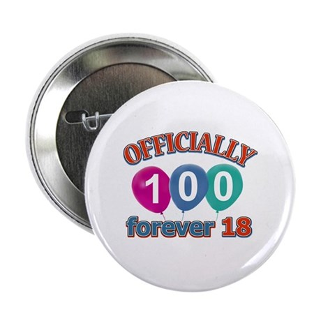 """Officially 100 forever 18 2.25"""" Button (100 pack)"""